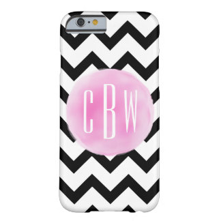Black + White Chevron Watercolor Monogram Barely There iPhone 6 Case