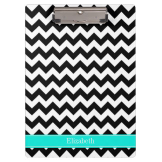 Black White Chevron Zig Zag Brt Aqua Name Monogram Clipboard