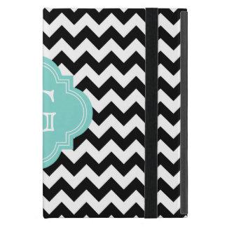 Black White Chevron Zig-Zag Turquoise Monogram iPad Mini Case