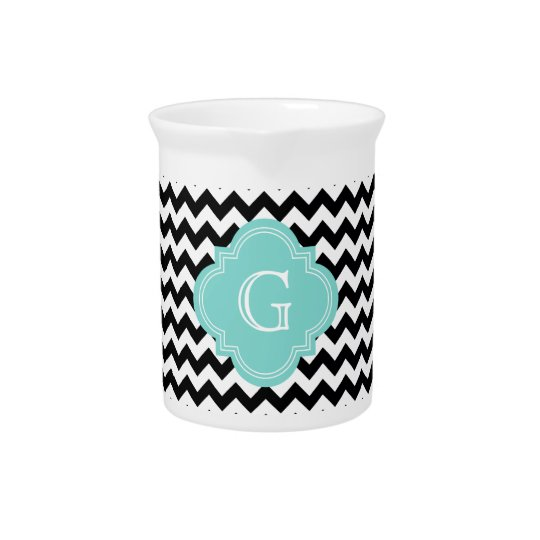 Black White Chevron Zig-Zag Turquoise Monogram Pitcher