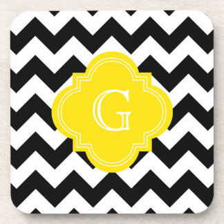 Black White Chevron Zig-Zag Yellow Monogram Coaster