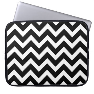 Black & White Chevron Zigzag Geometric Pattern Laptop Sleeve