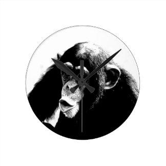 Black White Chimpanzee Clock