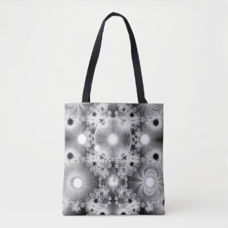 Black & White Christmas Stars Fractal Pattern Tote Bag