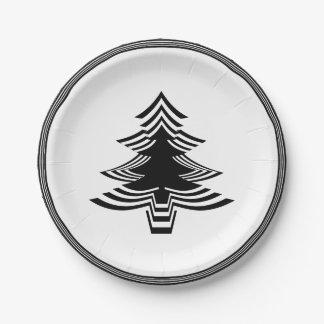 Black/White Christmas Tree Font Geometric Pattern Paper Plate