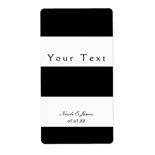 Black & White Chunky Stripes Chic Wine Label