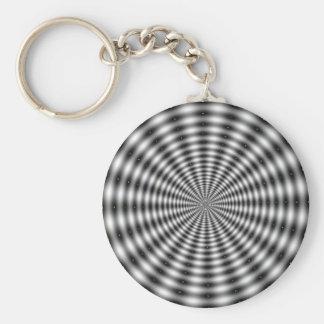 Black & White Circle Striped Optical Illusion Basic Round Button Keychain