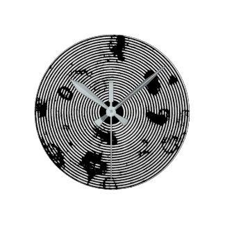 Black/White Circled Pattern Wall Clock