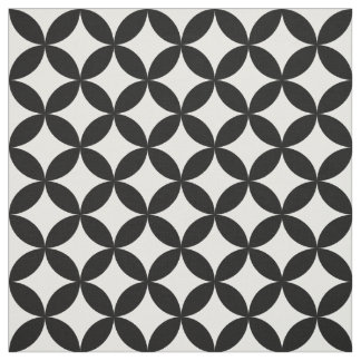 Black White Circles and Diamonds Pattern Fabric