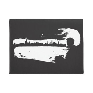 Black & White City Lookout - Doormat