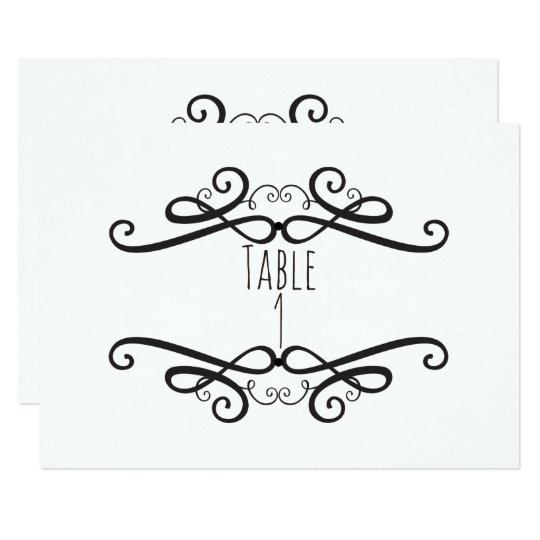 Black & White Classic Vintage Wedding Table Number Card