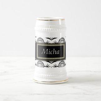 Black & White Classy Baroque Golden Monogram 18 Oz Beer Stein