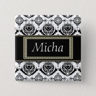 Black & White Classy Baroque Golden Monogram 2 Inch Square Button