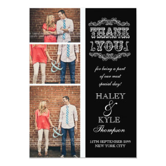 Black & White Classy Wedding Thank You Photo Cards