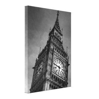 Black & White Close up Big Ben London Travel Canvas Print