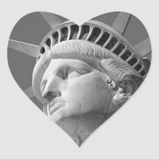 Black White Close-up Statue of Liberty Heart Sticker