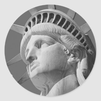 Black White Close-up Statue of Liberty Round Stickers