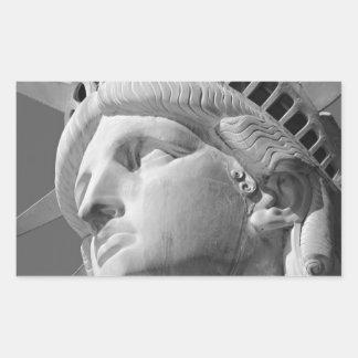 Black White Close-up Statue of Liberty Rectangular Sticker