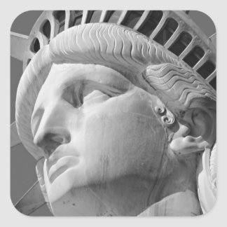 Black White Close-up Statue of Liberty Square Stickers