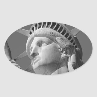 Black White Close-up Statue of Liberty Oval Stickers