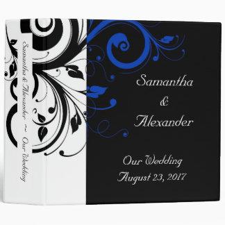 Black/White/Cobalt Blue Bold Swirl Wedding Binder