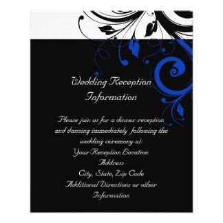 Black/White/Cobalt Blue Bold Swirl Wedding Custom Flyer