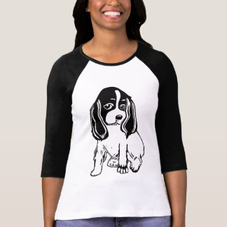 Black White Cocker Spaniel Ladies Raglan T-Shirt