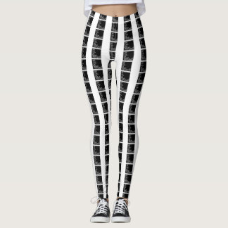 black white color floral squares checks legging