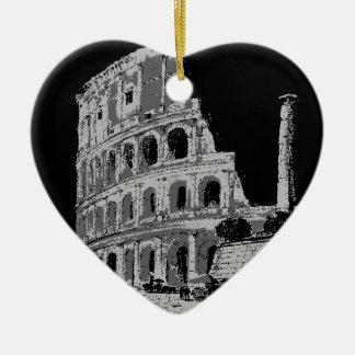 Black & White Colosseum Ceramic Heart Ornament