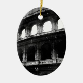 Black White Colosseum Roman Empire Ceramic Oval Ornament