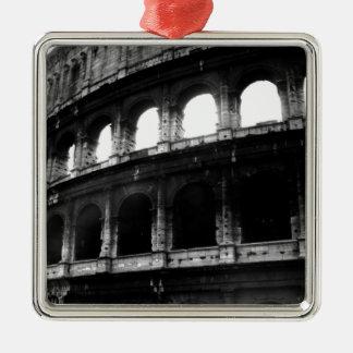 Black White Colosseum Roman Empire Silver-Colored Square Ornament