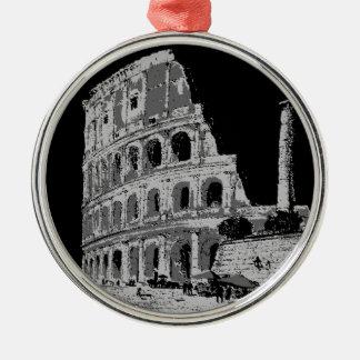 Black & White Colosseum Silver-Colored Round Ornament