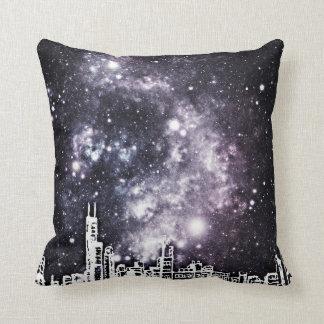 Black & White Comic Style City Skyline Starry Sky Throw Pillow