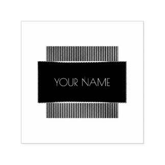 Black White Conceptual Minimal Name Geometry Self-inking Stamp