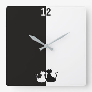 Black White Contrast Cats Opposite Silhouette Cool Wallclock
