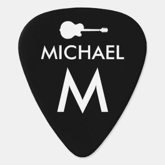 black & white cool modern guitarist photo guitar pick