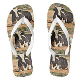 Black/White Cow Flip Flops