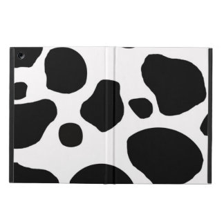 BLACK WHITE COW SPOTS ANIMAL PRINT iPad AIR COVERS