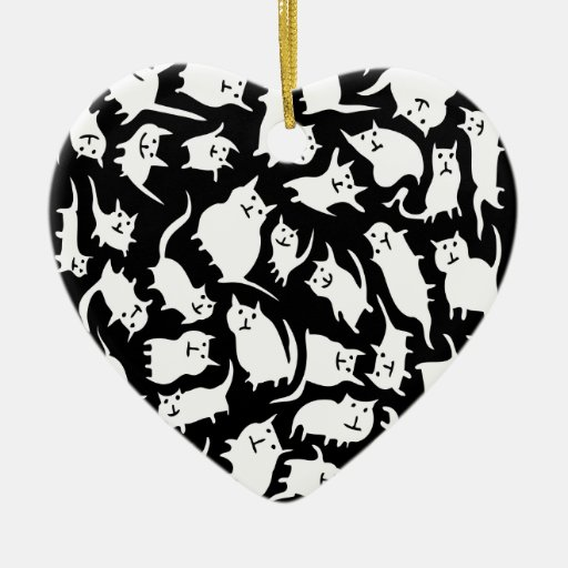 Black & White Crazy Cats Ornament (Heart)