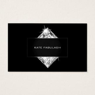 Black White Crystal Diamond Hairdresser Beauty Business Card