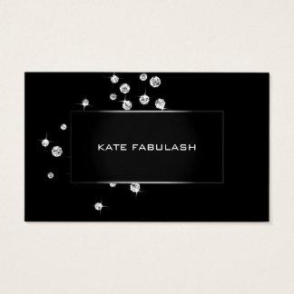 Black White Crystals Diamon Fashion Stylist Beauty Business Card
