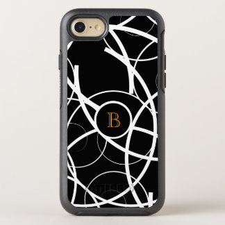 Black & White Curves (orange monogram)   OtterBox Symmetry iPhone 8/7 Case