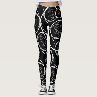 Black & White Curvy (orange monogram) | Legging
