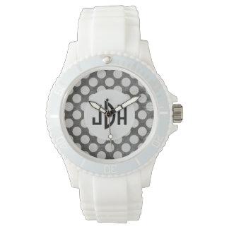Black White Custom Monogram Silicone Sport Watch