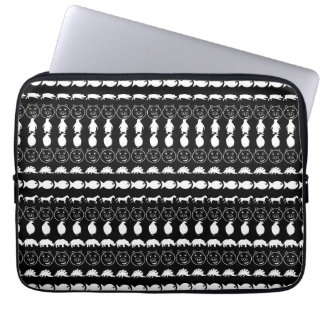 Black White Cute Animals Pattern Laptop Sleeve