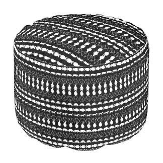 Black White Cute Animals Pattern Pouf