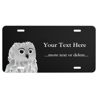 Black White Cute Owl Personalize License Plate