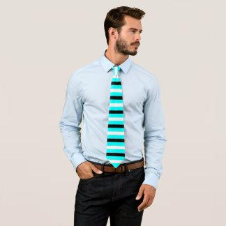 Black, White, Cyan Stripes Pattern Tie