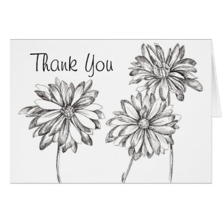Black White Daisy Bouquet Thank You Card