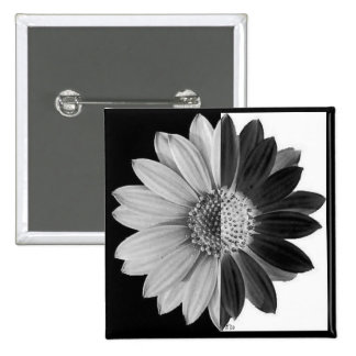 Black White Daisy Pinback Button